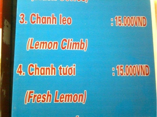 Lỗi dịch thuật Menu nhà hàng nhiều cửa hàng mắc phải