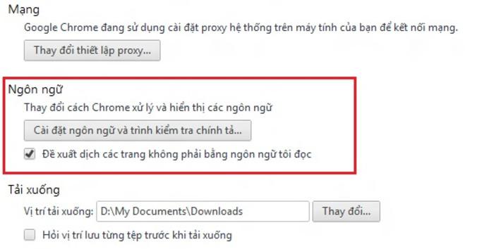 Tính năng dịch thuật cả trang web của Chrome