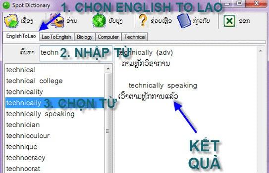 Download từ điển chuyên ngành tiếng Lào về máy tính