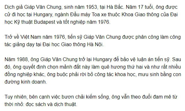 Tiểu sử dịch giả dịch thuật tiếng Hungary sang tiếng Việt